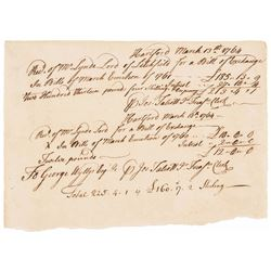 1764 Colonial Connecticut Treasury Receipt for 1760 + 1761 Issue Notes