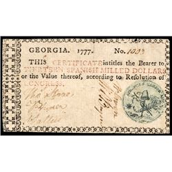 Colonial Currency, Georgia 1777 13 Dollars Liberty Cap/Cornucopia Seal PCGS VF20