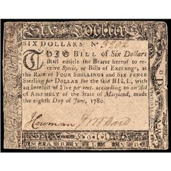 Colonial Currency, Maryland, June 8, 1780 Six Dollars BLACK MONEY Major Rarity!