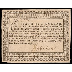 Colonial Currency, Maryland October 17, 1780 One Sixth Dollar, PCGS Very Fine-30
