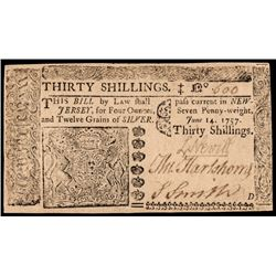 Colonial Currency New Jersey June 14, 1757 Thirty Shillings PCGS Choice New-63