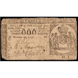 Colonial Currency, New York December 10, 1737, 3 Pounds, John Peter Zenger Note!