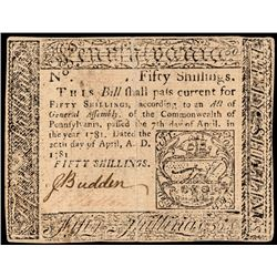 Colonial Currency, Pennsylvania. April 20, 1781. FIFTY Shillings. PCGS VF-30