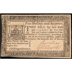 Colonial Currency, PA. March 16, 1785, 2s6d. Choice Extremely Fine. Scarce Note