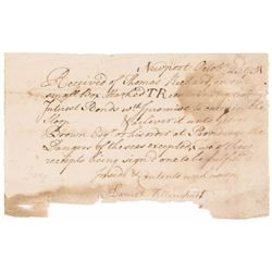 Colonial Currency, 1751 Document Colonial Rhode Island Fiscal Bonds are Shipped