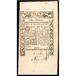 Colonial Currency, Rhode Island May 1786 One Shilling PMG Choice Uncirculated-63
