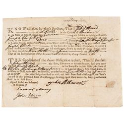 1786 Post Rev. War Era, Rhode Island, Land Office Related Fiscal Mortgage Bond