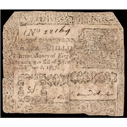 Colonial Currency Virginia June 8, 1757 Signed PEYTON RANDOLPH 5 Shillings Note