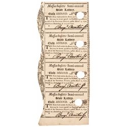 1790 Massachusetts Semi-Annual State Lottery Tickets Nice Uncut Sheet of Four