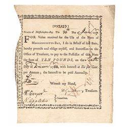 1777, Massachusetts Interest-Bearing Bounty Note Revolutionary War Anderson MA-6