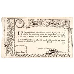1779-Dated. State of Massachusetts Bay Treasury Bond