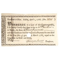 1786 Massachusetts Treasurer's Office Tax Certificate Anderson MA-37