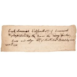 1776 Rev War Receipt Conn. Jeremiah Wadsworth, Israel Wadsworth, Israel Seymour