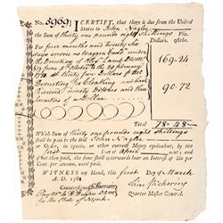 1781 TIMOTHY PICKERING Signed Revolutionary War Interest Bearing Fiscal Document