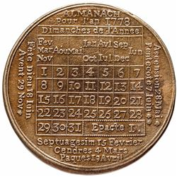 1778-Dated American Revolution French Calendar Medal Struck in Brass