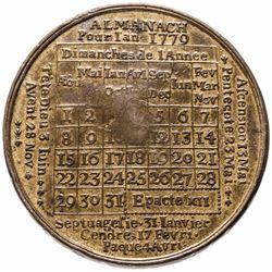 1779-Dated American Revolution French Calendar Medal Struck in Brass