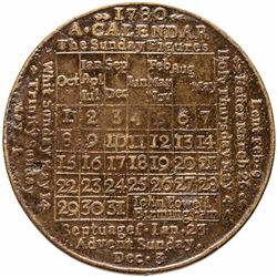1780-Dated American Revolution British Calendar Medal Struck in Copper