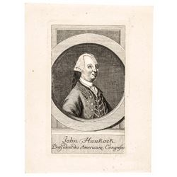 c. 1777, Engraved Portrait of John Hancock Likely PROOF Impression