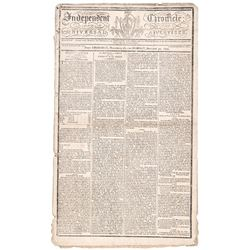 December 26 to 30, 1799 Historical Boston Newspaper Interment of Geo. Washington