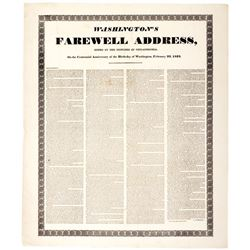 GEORGE WASHINGTON 1832 Centennial Broadside of Washingtons Farewell Address
