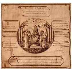 c. 1800 Printed Textile THE TEARS of AMERICA, Death of General George Washington