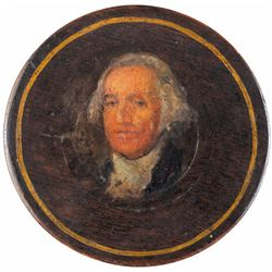 c 1790 George Washington Portrait Hand-Painted Turned Burl Wood Snuff Box