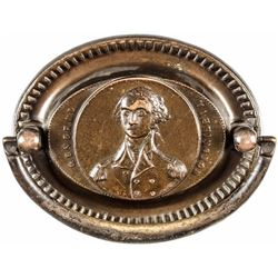 "c. 1820s Pair of ""George Washington"" Antique Brass Drawer Pulls"