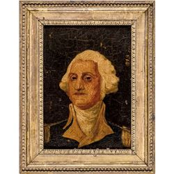 c. 1830-40s American Oil On Board Portrait of George Washington