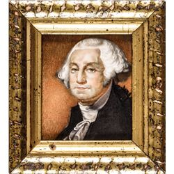 c. 1840s Quality Miniature Watercolor Portrait of President George Washington