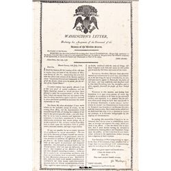 (GEORGE WASHINGTON) Rare 1813 Black Print on Silk Broadside by Charles Turell