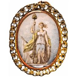 c. 1790, Locket with Miniature Painting of Columbia