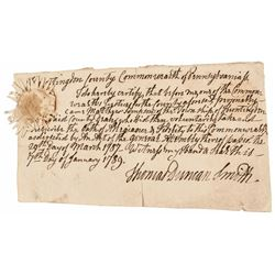 1789 Pennsylvania Signed March 29th 1787 Official Oath of Allegiance + Fidelity