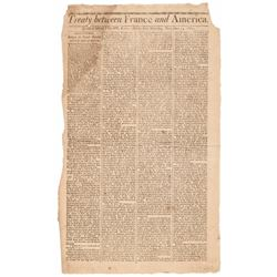 1800 Newspaper - Massachusetts Spy: Treaty between France and America