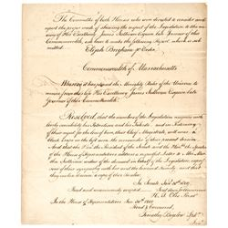 1809 Funeral Tribute to James Sullivan Mass. Senate + House of Representatives