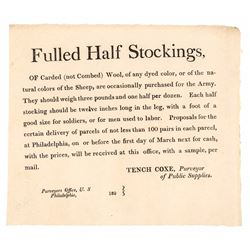 War of 1812 Era Printed Broadside: Fulled Half Stockings by Tench Coxe