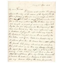 1812 Autograph Letter: surrounded by British ships with French firing cannon