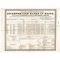 1847 Historic Banking Broadside Listing Incorporated Banks In The State Of Maine