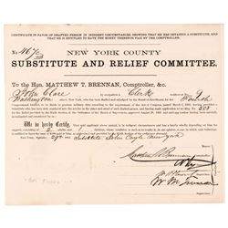 1863 Civil War $300 Substitute Bounty Certificate Signed WILLIAM MAGEAR TWEED