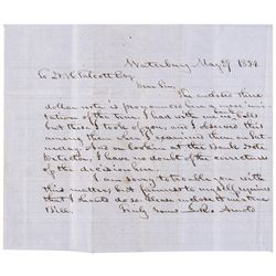1854 Letter Regarding a Phony Three Dollar Obsolete Banknote at Waterbury (CT)