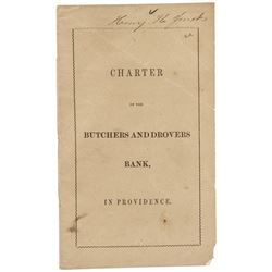 1853 Original Charter BUTCHERS AND DROVERS BANK Providence, Rhode Island