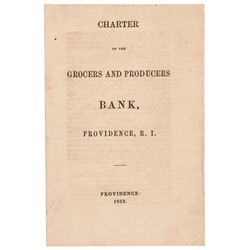 1853 Original Imprint, Charter of Grocers + Produce Bank, at Providence, R.I.