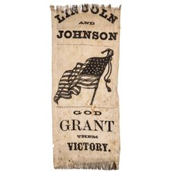 1864 Presidential Campaign Silk Ribbon LINCOLN AND JOHNSON GOD GRANT THEM VICTORY