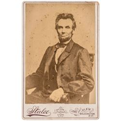1864 President Abraham Lincoln Cabinet Card Photograph O-84 By Mathew Brady