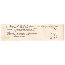 1861 Civil War Period Slaves + Personal Property Tax Receipt Washington County