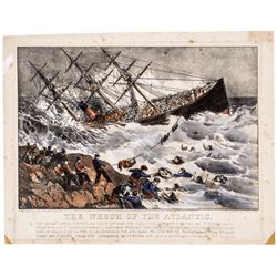 1873 Currier + Ives Hand-Colored Action Print: THE WRECK OF THE ATLANTIC