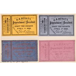 FOUR (4) Impeachment Trial of President Andrew Johnson U.S. Senate Tickets