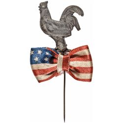 1888 Presidential Campaign Benjamin Harrison Metal Rooster/Flag Silk Bowtie Pin