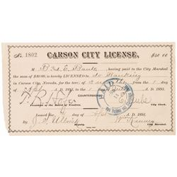 Ext. Rare Original 1893 CARSON CITY LICENSE in NEVADA For A Bank!