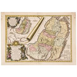 1745 Hand-Colored Holy Land Map: Carte de la terre des Hebreux ou Israelites...