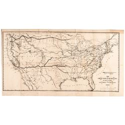 1869 Original Printed Map Titled: GREAT RAILROAD ROUTES TO THE PACIFIC...